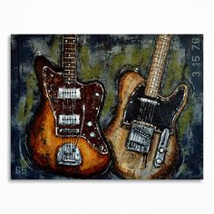 Guitar painting // Music art // Large guitar art // by MagdaMagier