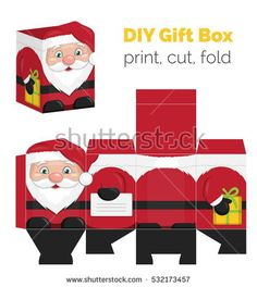 Lovely DIY handmade Christmas Santa Claus shaped gift box for small presents, unfolded box die line. Print it on thick paper, cut out, fold according to the lines.