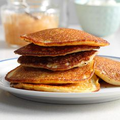 Pronto Potato Pancakes Recipe -Pancake lovers know these fluffy delights are not just for breakfast. Try serving these savory ones as a side dish with any main, or enjoy them solo topped with some homemade applesauce. They will not disappoint. —Darlene Brenden, Salem, Oregon