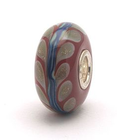 Trollbeads OOAK Deep Red Blue and Gold Glitter Feathers