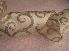 5 YARDS,Ivory & Metallic Gold Christmas Ribbon,Bows,Wreaths,Ribbon Decorations