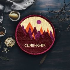 Since the dawn of human kind we have been trying to get our nature thing on. The colorful mountain patch allows you to easily and safely carry nature with you w Cute Patches, Pin And Patches, Iron On Patches, Embroidery Letters, Embroidery Patches, Embroidered Patch, Embroidery Ideas, Colorful Mountains, Morale Patch