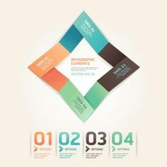 Origami numbered options infographics vector
