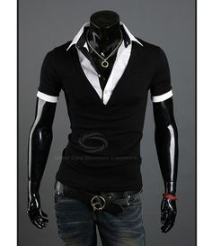 Casual Style Polo Collar Faux Twinset Short Sleeves Polyester T-Shirt – teeteecee - fashion in style