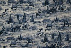 old cattle drives | western cattle drive frontier rodeo horse wagon old west theme curtain ...