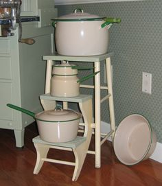 Cream and Green Graniteware and Kitchen Stool