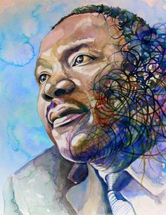 """Martin Luther King portrait, print from original watercolor painting ART, custom watercolor portrait, """"I have a dream"""" Black History"""