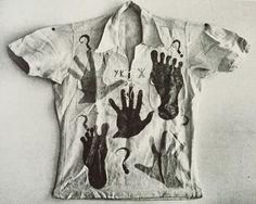 "iveseenthat: "" #YvesKlein's hand painted shirt, #1948 ❓❔✋❓❔ """