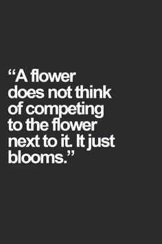 just bloom where you are planted - don't compete