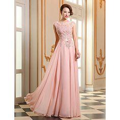 Vestido formal de fiesta de baile - encaje de una línea joya georgette piso de longitud con apliques perlas de detalle de perlas – USD $ 79.99