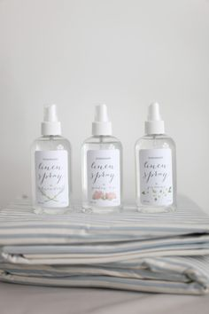 DIY linen spray with distilled H20, vodka, essential oil