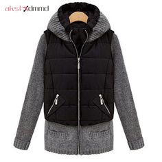 48.95$  Buy now - http://alisfc.shopchina.info/go.php?t=32469422479 - AKSLXDMMD 2017 New winter jacket women slim thick warm parka jacket knitted sleeve jacket with hood sweater coat women  DX517  #shopstyle
