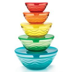 Preps, serves, stores, and stacks! A set of 5 vibrant glass bowls with lids that go from the table right back into the fridge for leftovers. Serve and store, all in one bowl. Also can be stacked for easy storage. It doesn't get easier than this! Regularly $19.99, shop Avon Living online at http://eseagren.avonrepresentative.com