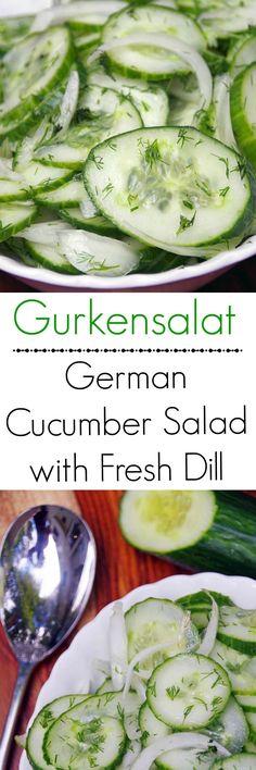Gurkensalat recipe: A German Cucumber Salad Recipe with Fresh Dill (cucumber bites veggies) Cucumber Recipes, Onion Recipes, New Recipes, Salad Recipes, Cooking Recipes, Healthy Recipes, German Recipes, Juicer Recipes, Cucumber Juice