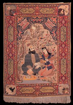 """Antique Tabriz pictorial carpet, """"Omar Khayyam and his lover"""", State Museum of Azerbaijan Carpet and Applied Art"""