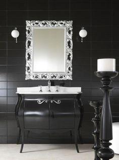 Black and White Decorating Ideas : Glossy Black Classic Bathroom Vanity Furniture