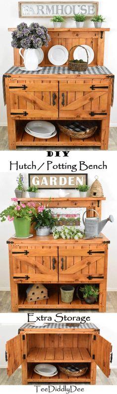 DIY Farmhouse Hutch / Potting Bench - Rustic, Furniture, Cottage, Storage Cottage Furniture, Farmhouse Furniture, Furniture Decor, Rustic Furniture, Metal Shelf Brackets, Metal Shelves, Cottage Porch, Rustic Decor, Bench
