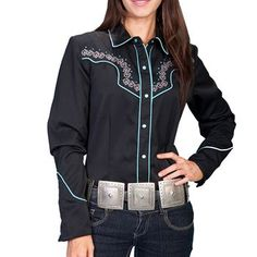 Scully Women's Embroidered Scroll Long Sleeve Western Shirt