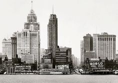 Old Detroit Skyline Seen from Detroit River Downtown Skyscrapers City Towers Black and White Historic Photography Photo Print by EclecticForest on Etsy Detroit Downtown, Detroit Skyline, Flint Michigan, Detroit Michigan, Detroit State, Detroit History, Destinations, Unique Architecture, City Photography