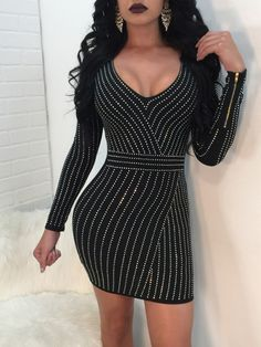 Sexy Women Bodycon Dress Rhinestone Scoop Neck Long Sleeves Nightwear  Evening Party Mini Dresses from Chicloth. Best affordable Club Dresses  online store 0295a1f55