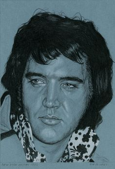 Elvis in Charcoal nr. 22 for 215. New York Hilton 1972, Charcoal and White chalk on colored paper, 15 x 21 cm. www.elvis-art.com