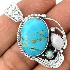 Sleeping Beauty Turquoise 925 Sterling Silver Pendant Jewelry PP13415 | eBay
