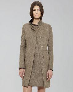 Contrast-Collar Princess Coat by Akris Punto at Neiman Marcus.