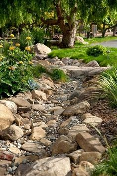 Dry Creek Bed Idea | Dreaming Gardens #LandscapingProjects #LandscapingFrontYard #LandscapingIdeas