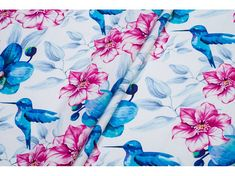 Bird Cotton Fabric for girl blue pink rose hummingbird
