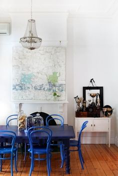Melbourne Home - Heather Nette King from The Design Files - love the blue table & vintage trophies Blue Dining Tables, Table And Chairs, Blue Chairs, Dining Chairs, Dining Set, Dining Rooms, Room Chairs, Desk Chairs, Accent Chairs