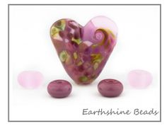 Handmade Lampwork Glass Heart Bead in pink with by Earthshinebeads, £5.95