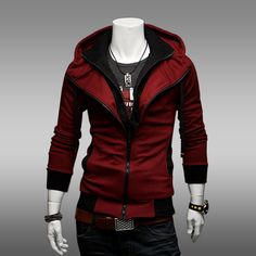 Mens Casual Zip Up Slim Fit Red Top Coat Hoodie Assassins Creed III 3 Cosplay Costume