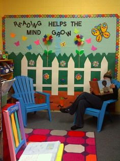 This is a nice idea for a reading bulletin board for spring.