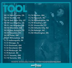 Good news Tool fans – the band announced they'll be hitting the road in support of their long-awaited fifth studio album, Fear Inoculum, bringing the guys to a stage near you this fall!