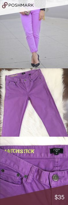 J.Crew Matchstick Cropped jeans Beautiful violet purple color   In excellent used condition   Inseam 25 inches Rise 8 inches  Leg opening 6.5 inches J. Crew Jeans Ankle & Cropped