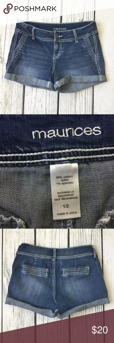 """Maurice's cuffed shorts 5. Cuffed Denim shorts with white stitching. Very good used condition.  Brand: Maurice's  Size 1/2: 15""""W, 7.5""""Rise, 3.5""""Inseam Material: cotton, spandex Maurices Shorts Jean Shorts"""