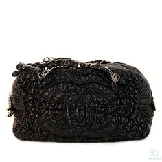 465dd9e10802 Chanel Rare Black Scrunch Leather Purse | Biltmore Lux Designer Handbag  Brands, Designer Handbags,