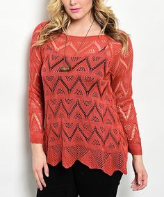 Loving this Salmon Geometric Boatneck Top - Plus on #zulily! #zulilyfinds