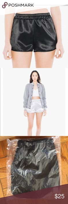 American Apparel High Waist Metallic Running Short Brand new!  From the American Apparel Spring 2017 final collection. AA is going out of business. 😢  I have all three colors available in my closet. This is for the black Metallic pair. American Apparel Shorts
