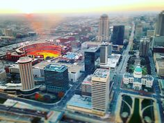 #STL from the top of the arch.  Busch Stadium setting up for acWorld Cup qualifying match #stlarch #downtownstl #worldcup #soccer #football #stlarchitecture #stlouis