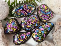 Color Burst  Hand Painted Rocks by CassisCorner on Etsy