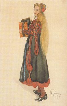 Carl Larsson - Lisbeth playing the Accordion, 1909