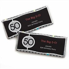 Adult 50th Birthday - Personalized Birthday Party Candy Bar Wrapper Favors | BigDotOfHappiness.com