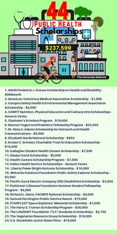 College Discover 44 Public Health Scholarships Here is a selection of Public Health Scholarships that are listed on TUNs Scholarship Engine! Middle School Health, Education Middle School, Elementary Education, Primary Education, Childhood Education, Higher Education, Education Logo, Health Education, Education Posters
