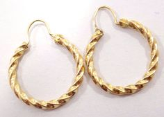 10k Solid Gold Swirl Hoop Earrings Simple Design Beautiful Free Shipping