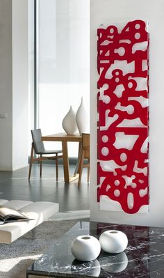 Steel Decorative radiator METACRILATI by CALEIDO | #Design James Di Marco #number #red @Caleido