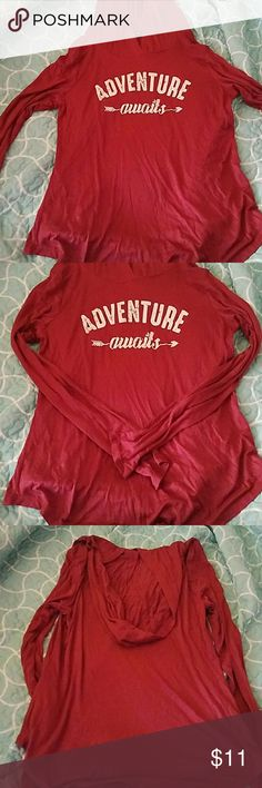 Hooded long-sleeved shirt Super soft and stretchy! New w/o tags. Excellent condition. Maroon, dark pink color. Rags II Riches Tops Tees - Long Sleeve