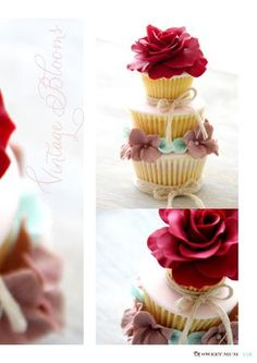 Stacked Cupcakes - perfect for the cake table or as a wedding favour.