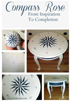 Creating a Compass Rose Table with Pure White & Napoleonic Blue Chalk Paint® decorative paint by Annie Sloan Hand Painted Furniture, Paint Furniture, Repurposed Furniture, Furniture Projects, Furniture Making, Furniture Makeover, Furniture Design, Dresser Makeovers, Simple Furniture