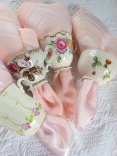 Set of 4 - Upcycled Vintage Demitasse Tea Cup Napkin Rings. neat idea